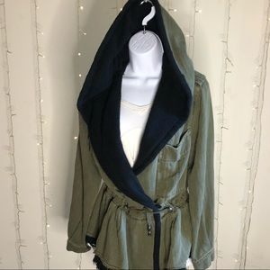 Free People hooded partially lined utility jacket